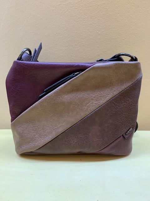 Bolso pequeño cortes y colores diagonales multibolsillos Matties. Granate