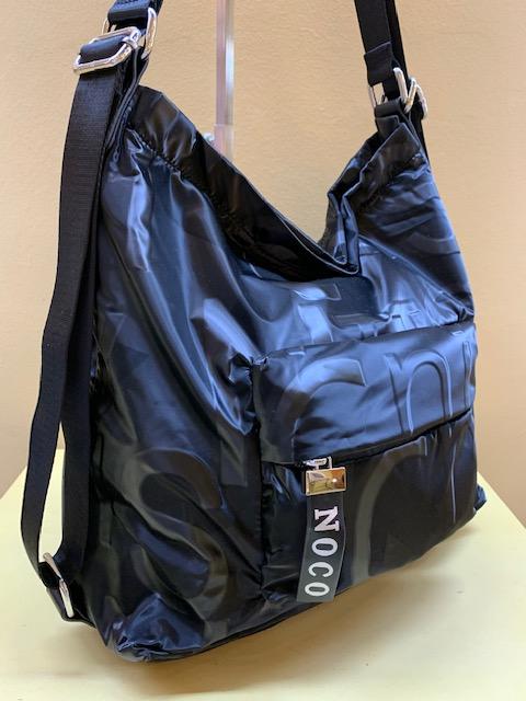 Bolso o mochila en raso grabado brillo de Noco. Negro
