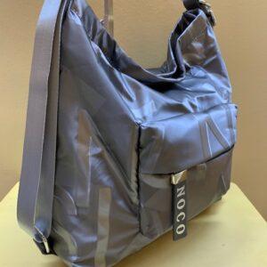 Bolso o mochila en raso grabado brillo de Noco. Plata