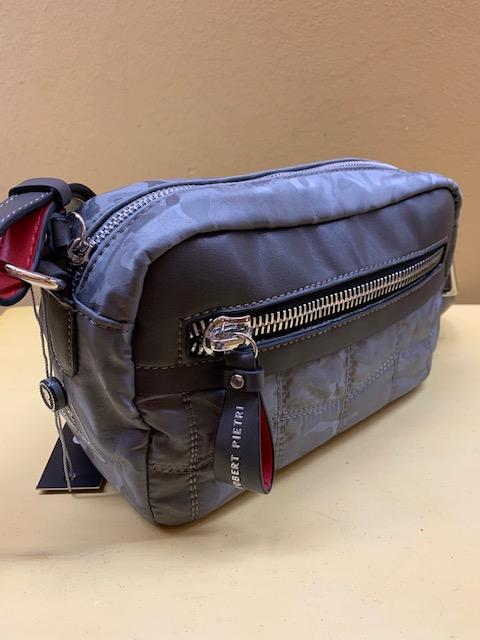 Bolso contenedor bicolor acolchado de Robert Pietri. Gris-taupe